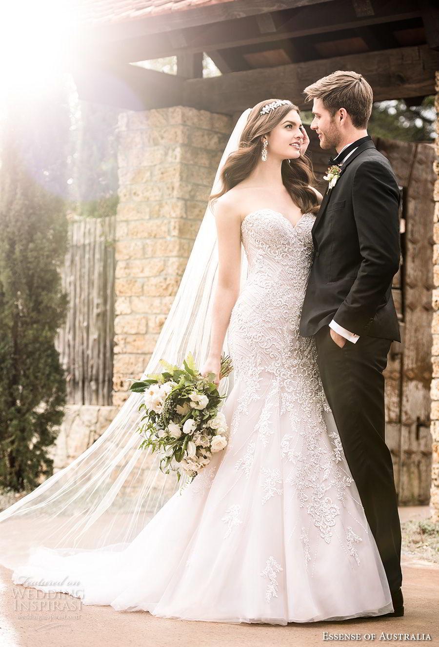 essense australia fall 2017 bridal strapless sweetheart neckline full embellishment elegant romantic blush color mermaid wedding dress chapel train (08) mv