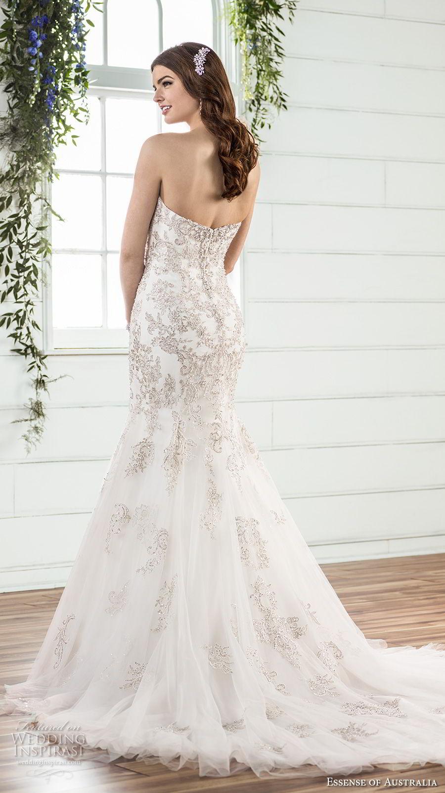 essense australia fall 2017 bridal strapless sweetheart neckline heavily embellished beaded bodice elegant glamorous mermaid wedding dress chapel train (01) bv