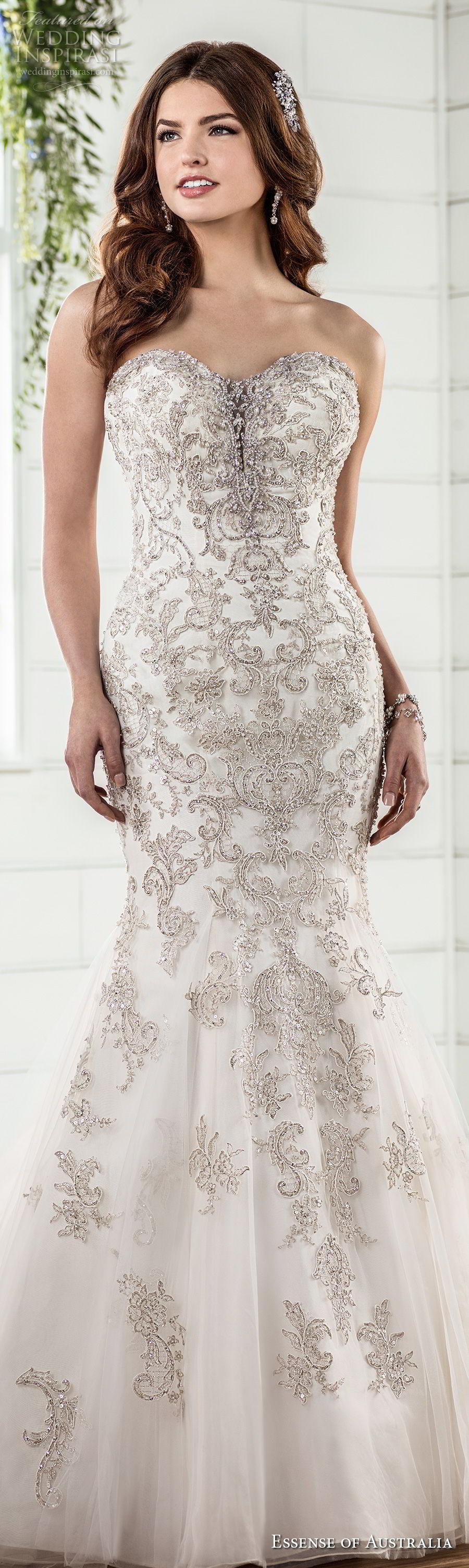 essense australia fall 2017 bridal strapless sweetheart neckline heavily embellished beaded bodice elegant glamorous mermaid wedding dress chapel train (01) lv