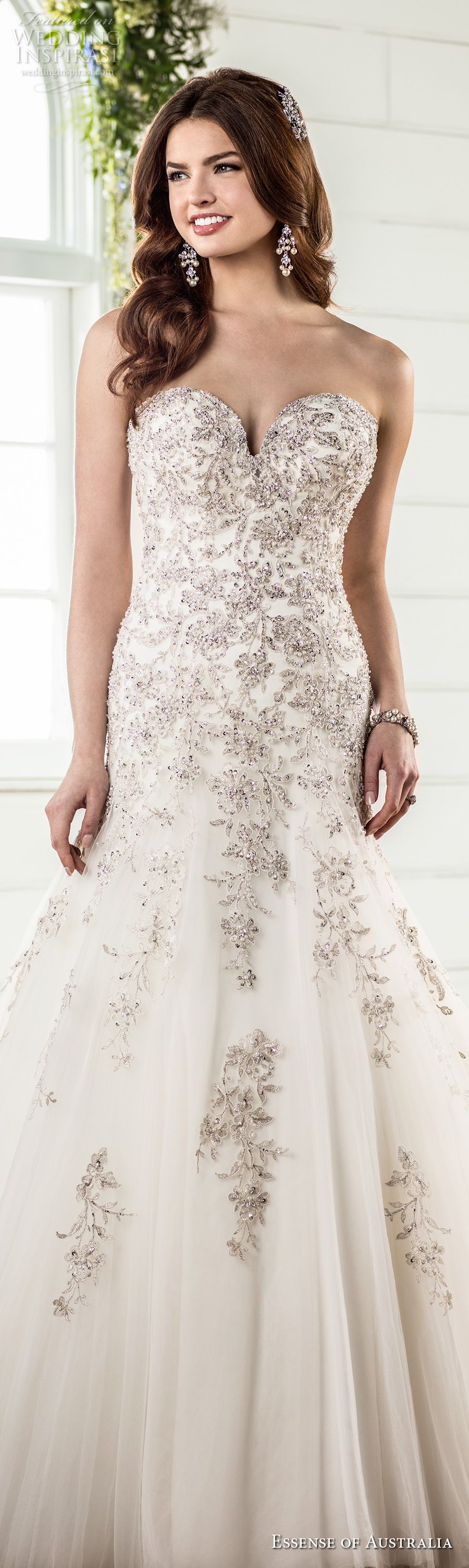 essense australia fall 2017 bridal strapless sweetheart neckline heavily embellished bodice elegant glamorous drop waist a  line wedding dress chapel train (98) lv