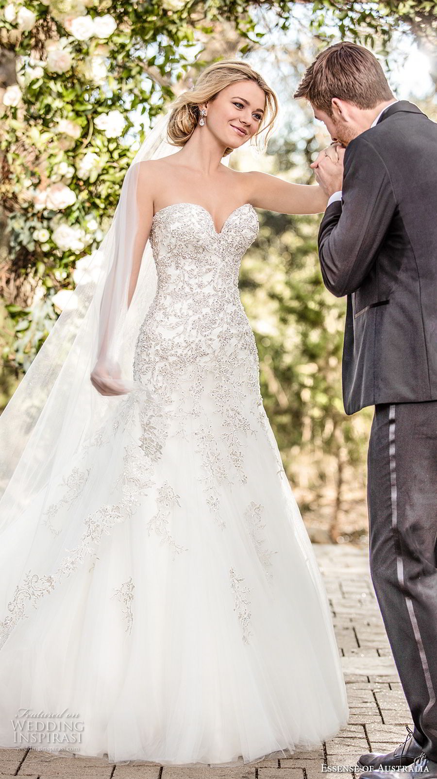 essense australia fall 2017 bridal strapless sweetheart neckline heavily embellished bodice elegant glamorous drop waist a  line wedding dress chapel train (98) mv