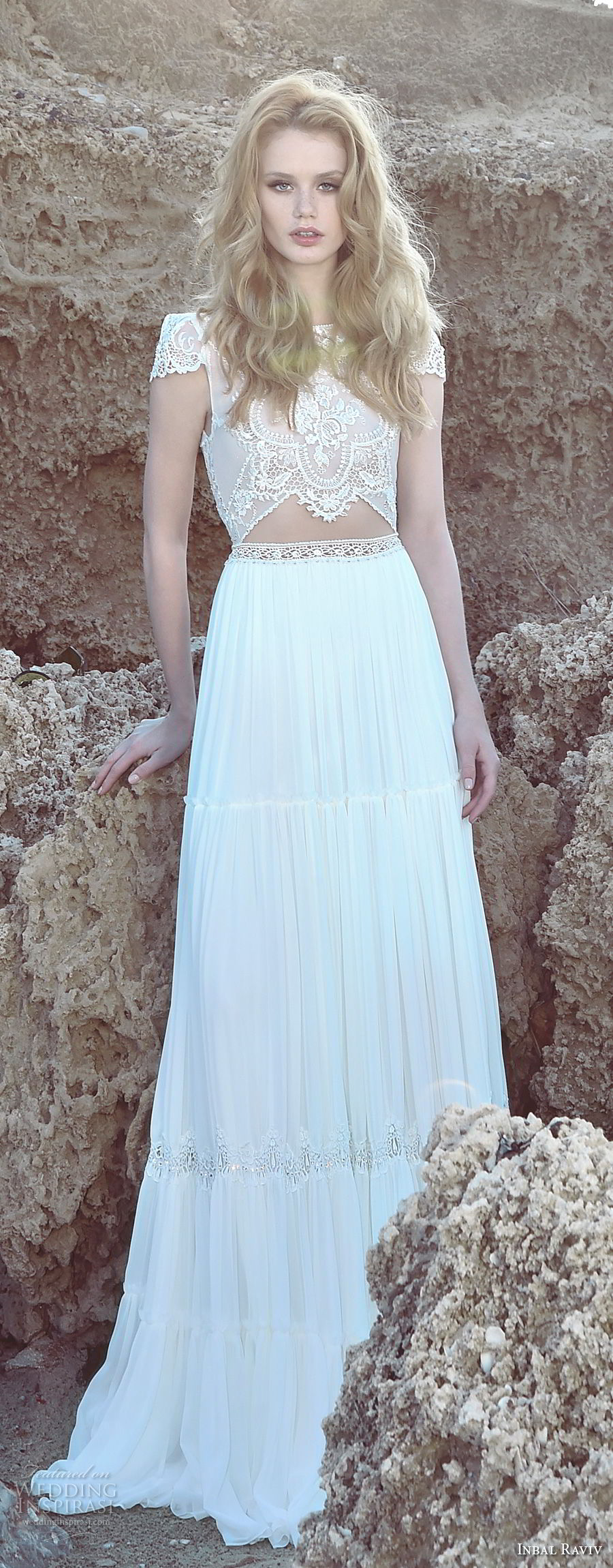 inbal raviv 2017 bridal cap sleeves jewel neck heavily embellished bodice crop top soft a  line wedding dress open v back sweep train (beky) lv