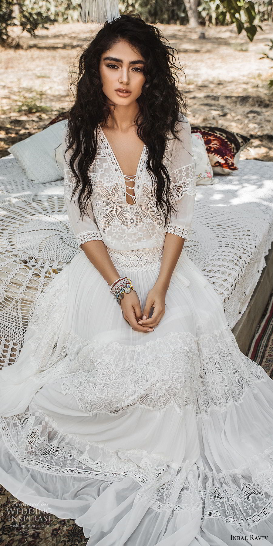 inbal raviv 2017 bridal half sleeves deep v neck heavily embellished bodice bohemian romantic soft a  line wedding dress sweep train (luna) zv