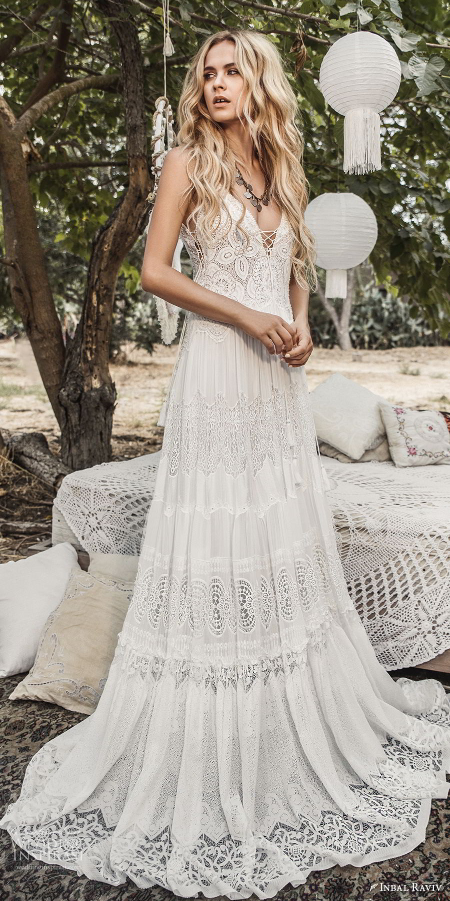 inbal raviv 2017 bridal sleeveless deep v neck full lace embellishment bohemian soft a  line wedding dress sweep train (gipsy) mv