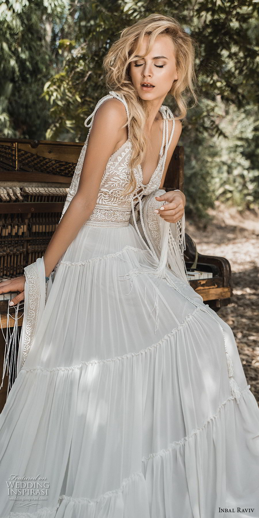 inbal raviv 2017 bridal sleeveless thin strap deep plunging sweetheart neckline heavily embellished bodice bohemian soft a  line wedding dress (alma) mv