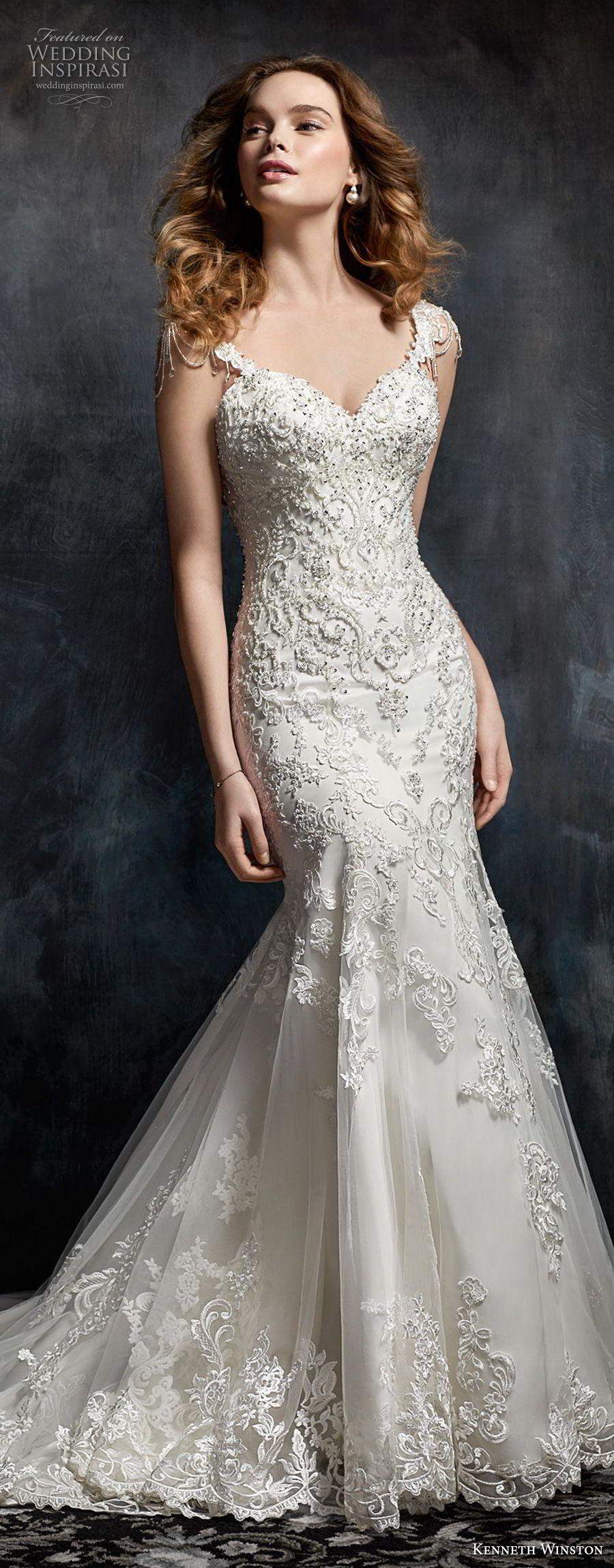 kenneth winston fall 2017 bridal cap sleeves sweetheart neckline full beaded embellishment elegant glamorous mermaid wedding dress open scoop back chapel train (31) lv