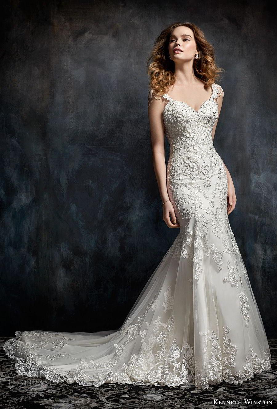 kenneth winston fall 2017 bridal cap sleeves sweetheart neckline full beaded embellishment elegant glamorous mermaid wedding dress open scoop back chapel train (31) mv