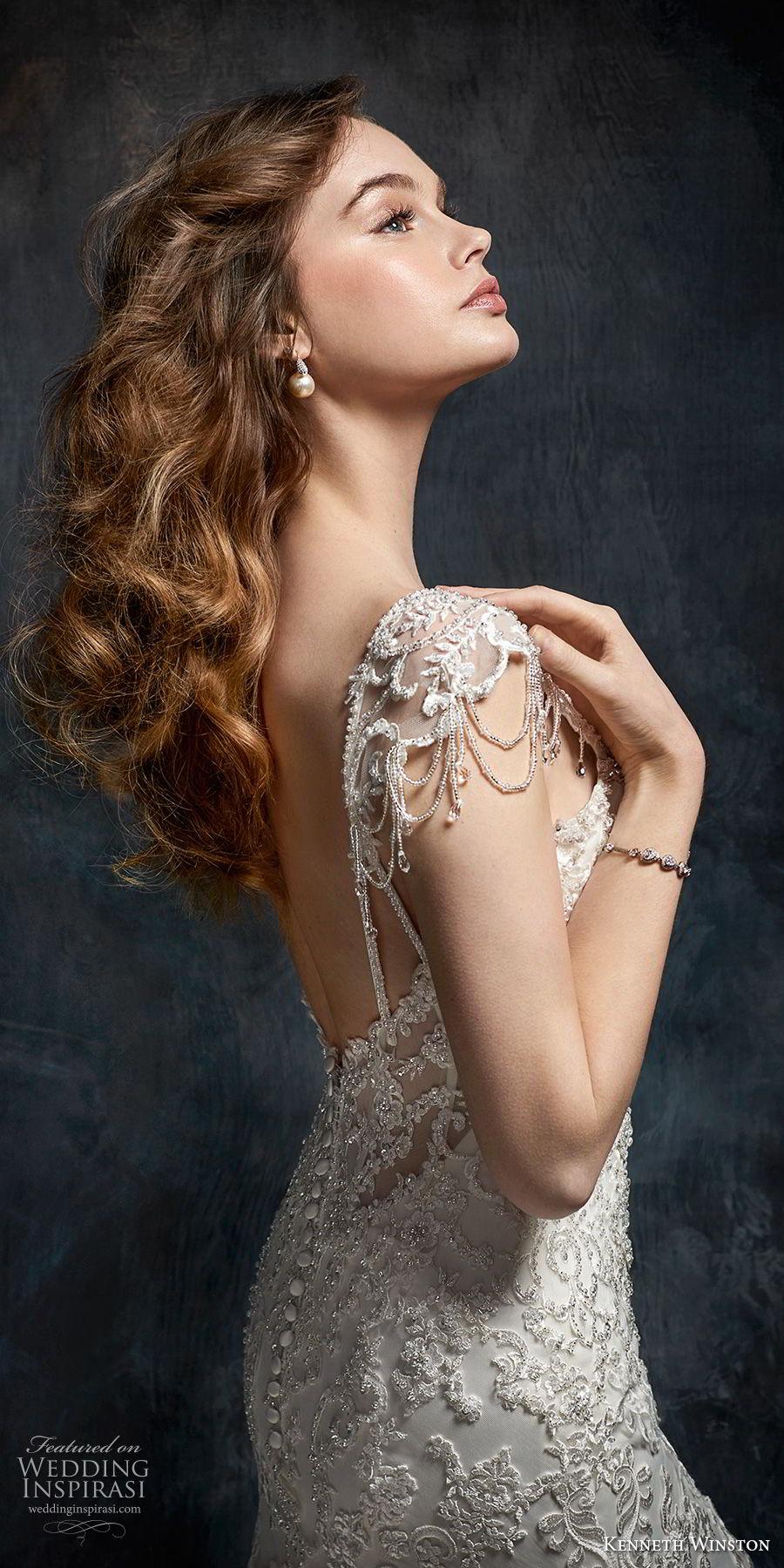 kenneth winston fall 2017 bridal cap sleeves sweetheart neckline full beaded embellishment elegant glamorous mermaid wedding dress open scoop back chapel train (31) sdv