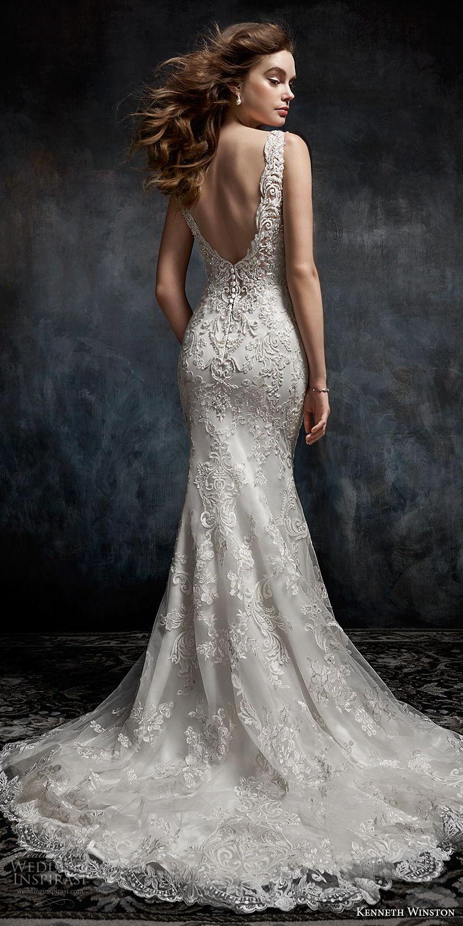 kenneth winston fall 2017 bridal sleeveless bateau neckline full embellishment elegant fit and flare sheath wedding dress open back medium train (30) bv