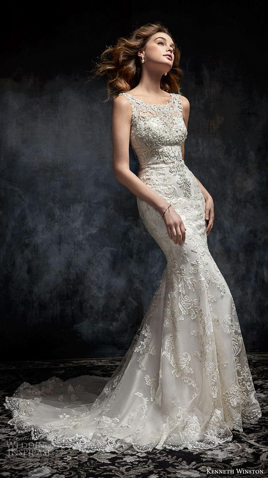 kenneth winston fall 2017 bridal sleeveless bateau neckline full embellishment elegant fit and flare sheath wedding dress open back medium train (30) mv