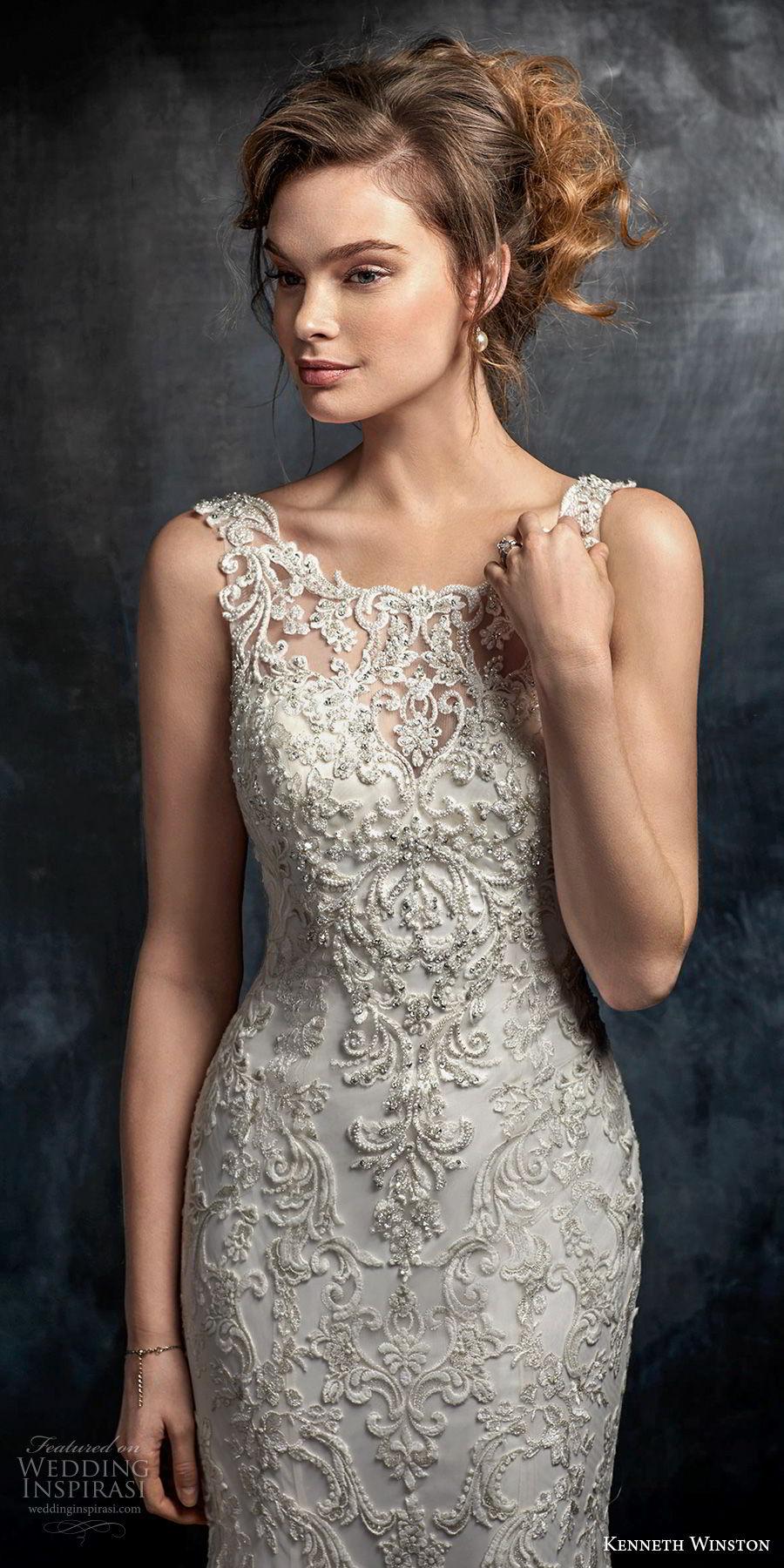 kenneth winston fall 2017 bridal sleeveless bateau neckline full embellishment elegant fit and flare sheath wedding dress open back medium train (30) zv