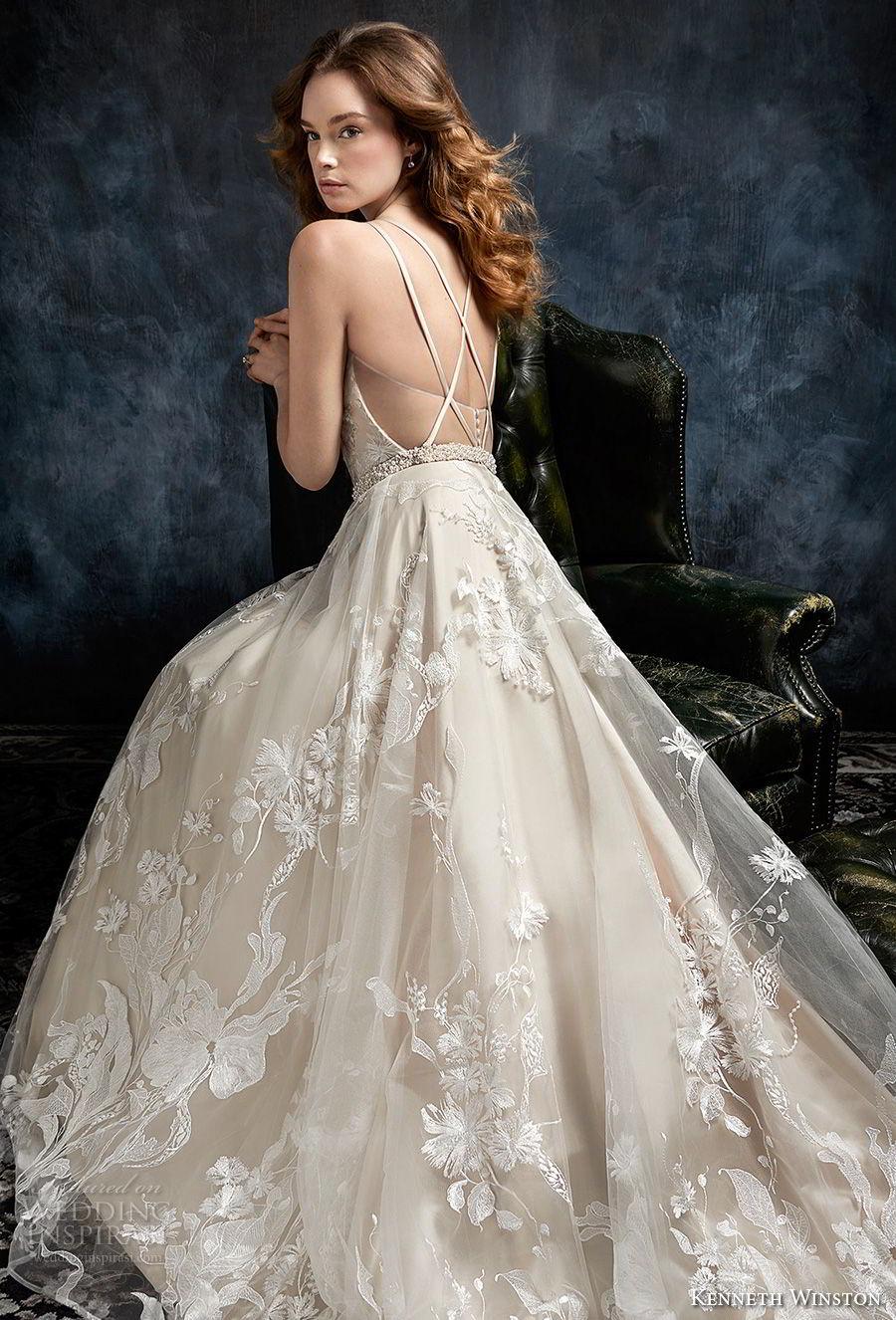 kenneth winston fall 2017 bridal sleeveless deep sweetheart neckline full embellishment romantic elegant a  line wedding dress cross strap back chapel train (32) bv