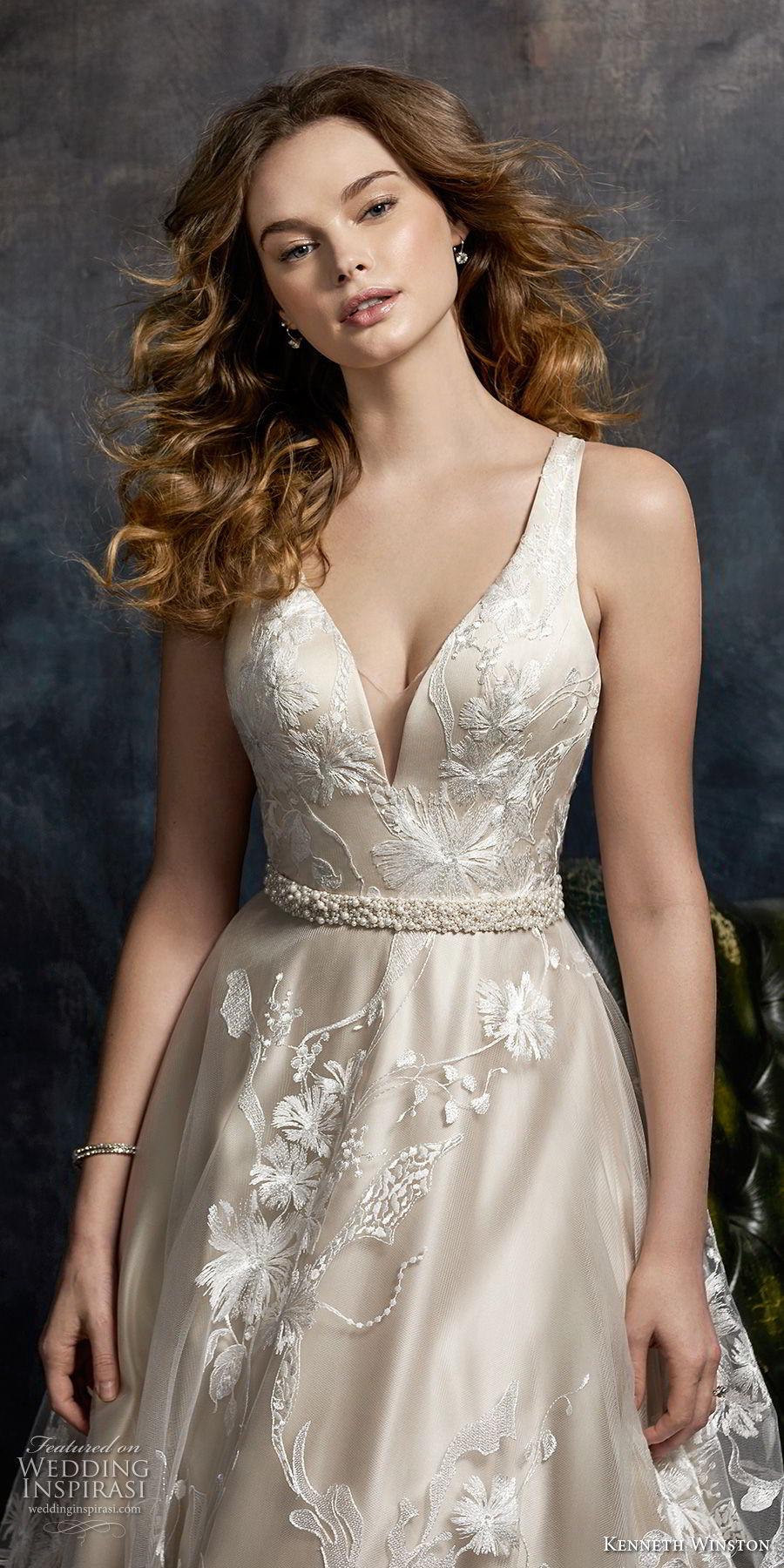 kenneth winston fall 2017 bridal sleeveless deep sweetheart neckline full embellishment romantic elegant a  line wedding dress cross strap back chapel train (32) zv