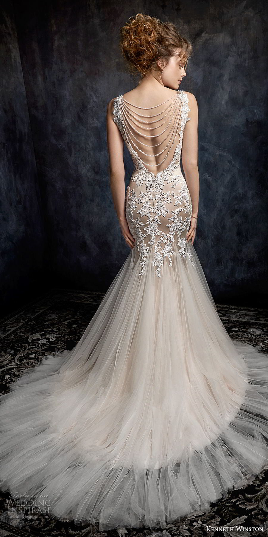 kenneth winston fall 2017 bridal sleeveless embroidered strap sweetheart neckline heavily embellished bodice tulle skirt romantic mermaid wedding dress open back chapel train (27) bv