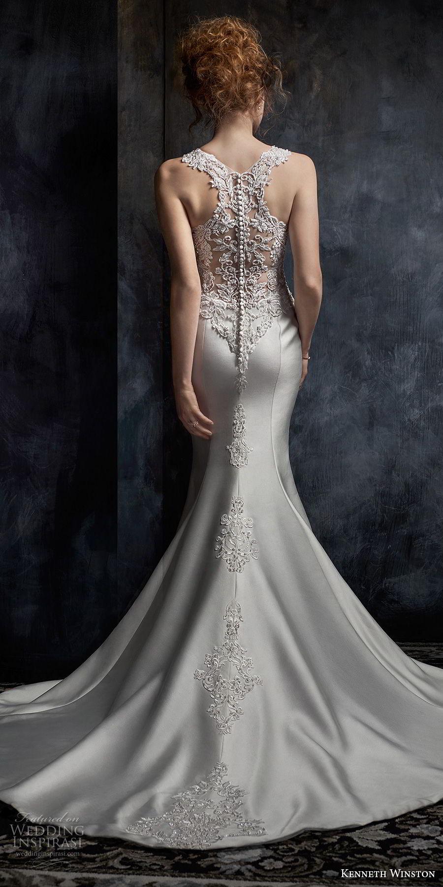kenneth winston fall 2017 bridal sleeveless embroidered strap v neck heavily embellished bodice satin skirt elegant sheath wedding dress rasor back medium train (41) bv