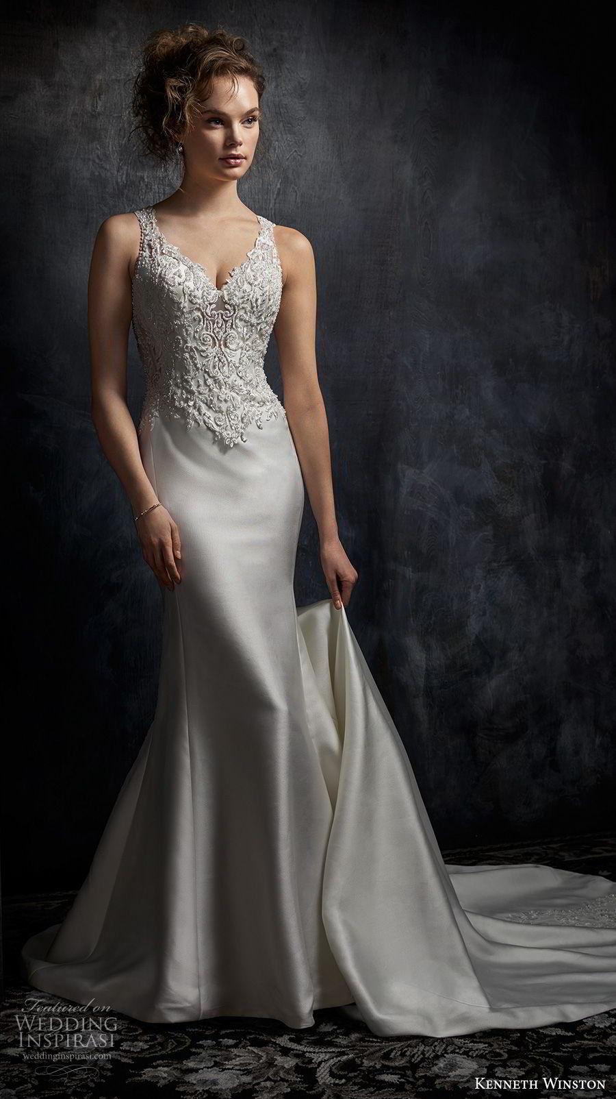kenneth winston fall 2017 bridal sleeveless embroidered strap v neck heavily embellished bodice satin skirt elegant sheath wedding dress rasor back medium train (41) mv