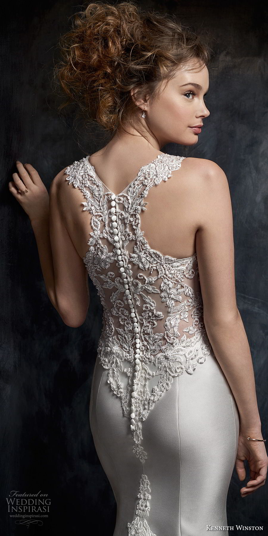 kenneth winston fall 2017 bridal sleeveless embroidered strap v neck heavily embellished bodice satin skirt elegant sheath wedding dress rasor back medium train (41) zbv