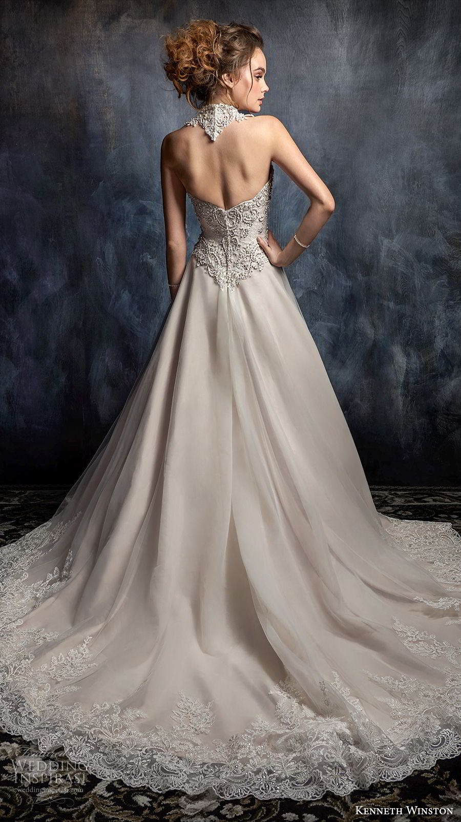 kenneth winston fall 2017 bridal sleeveless halter neck sweetheart neckline heavily embellished beaded bodice glamorous blush mermaid wedding dress open back chapel train (55) bv