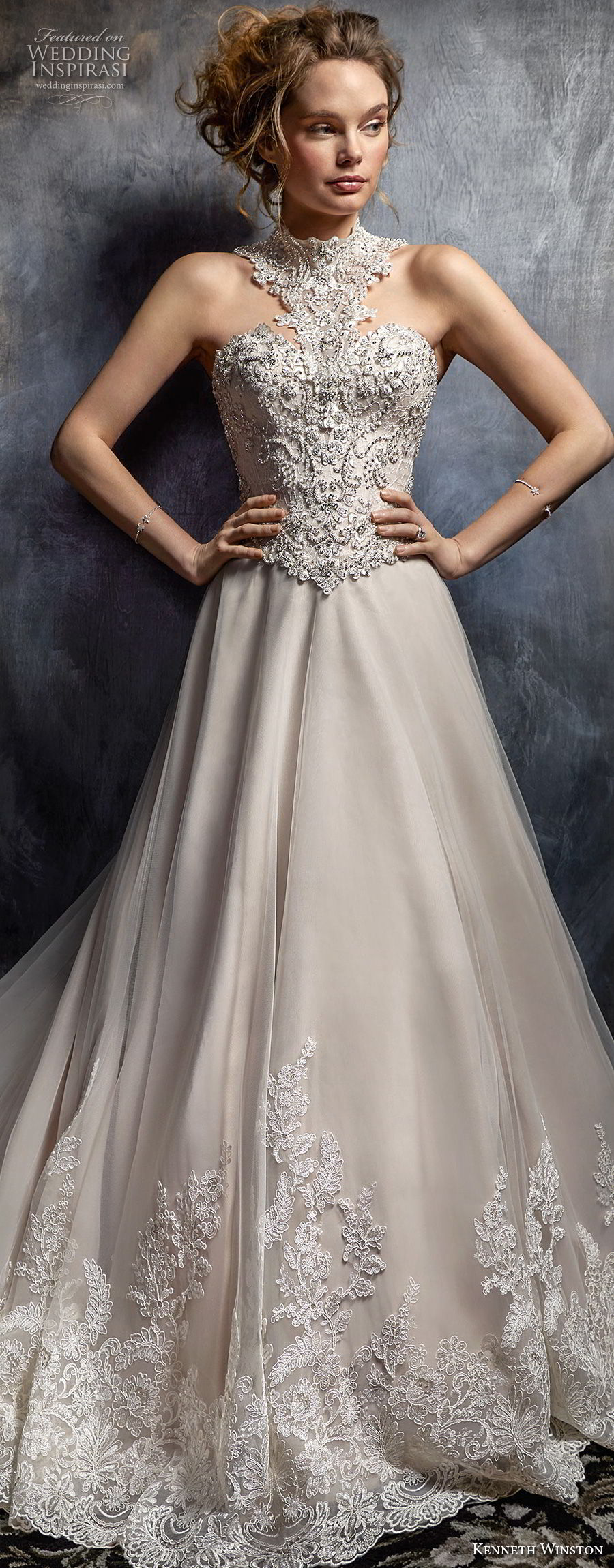 kenneth winston fall 2017 bridal sleeveless halter neck sweetheart neckline heavily embellished beaded bodice glamorous blush mermaid wedding dress open back chapel train (55) mv