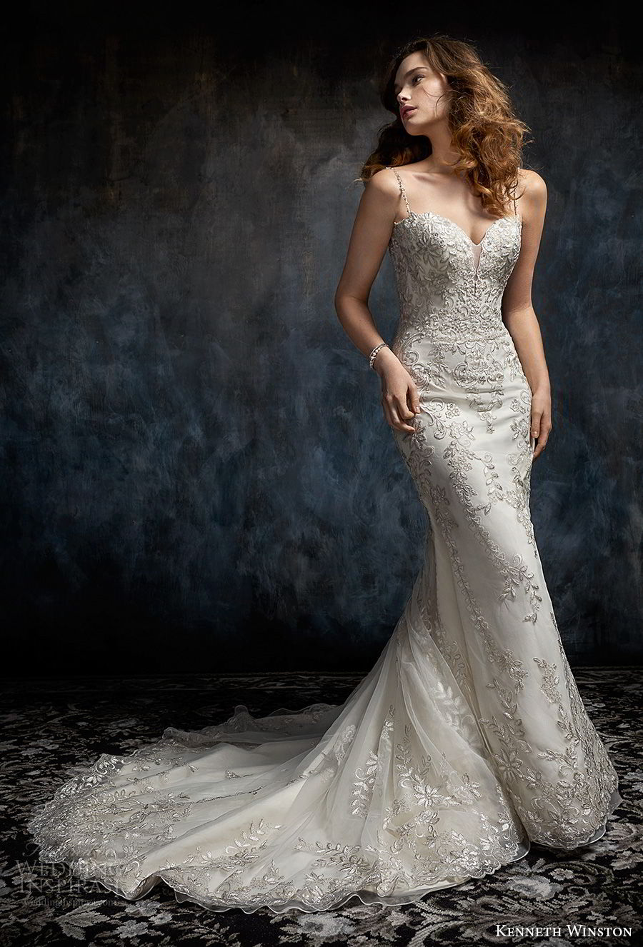 kenneth winston fall 2017 bridal sleeveless spaghetti strap sweetheart neckline heavily embellished bodice elegant fit and flare sheath wedding dress low open back chapel train (36) mv