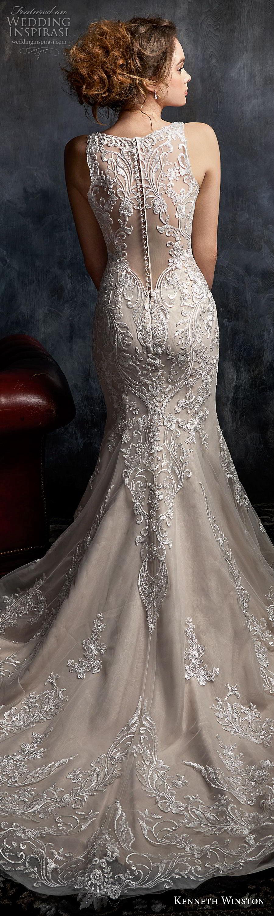 kenneth winston fall 2017 bridal sleeveless strap v neck full embellishement elegant fit and flare mermaid wedding dress covered lace back chapel train (37) lbv