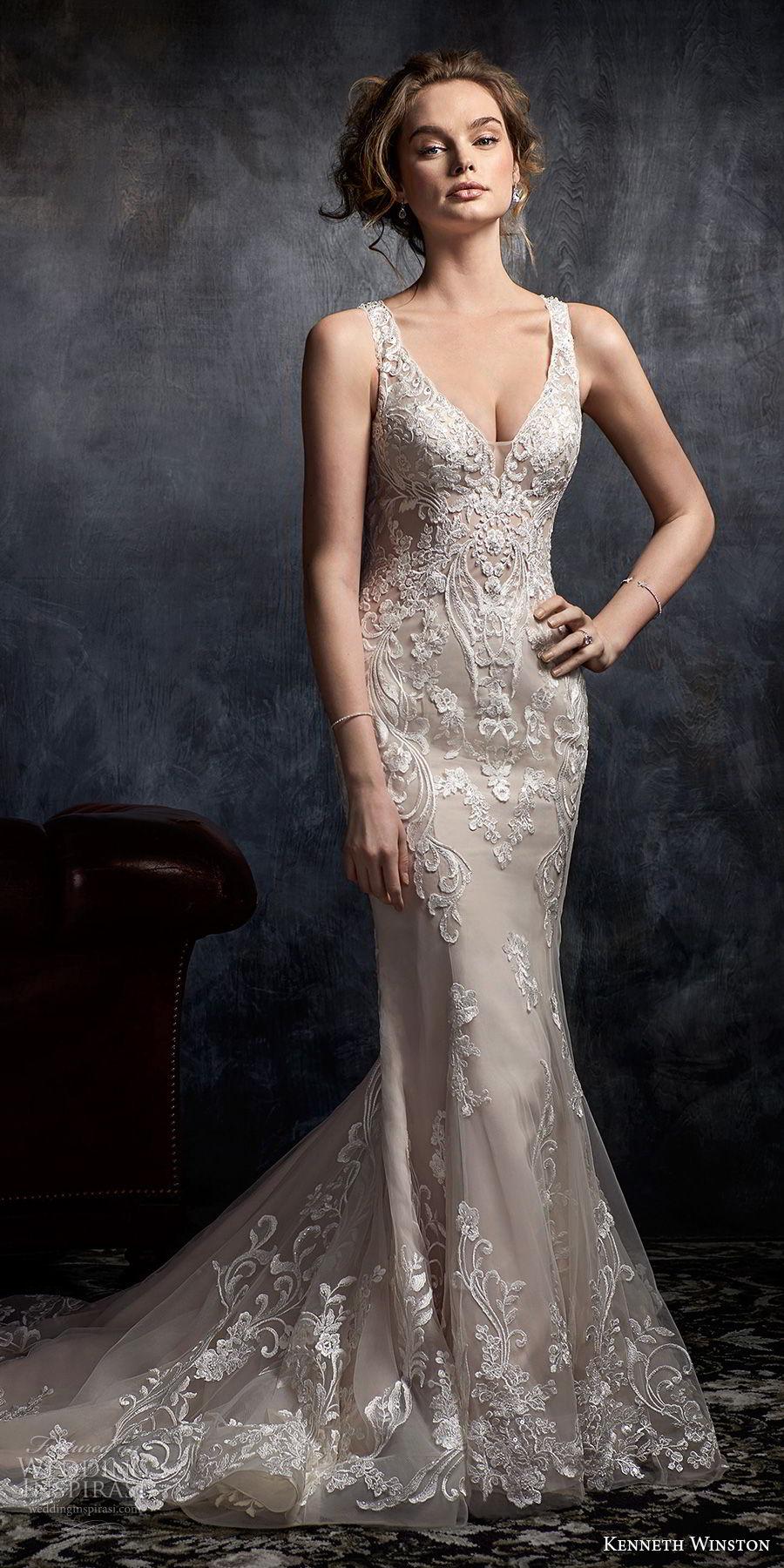 kenneth winston fall 2017 bridal sleeveless strap v neck full embellishement elegant fit and flare mermaid wedding dress covered lace back chapel train (37) mv