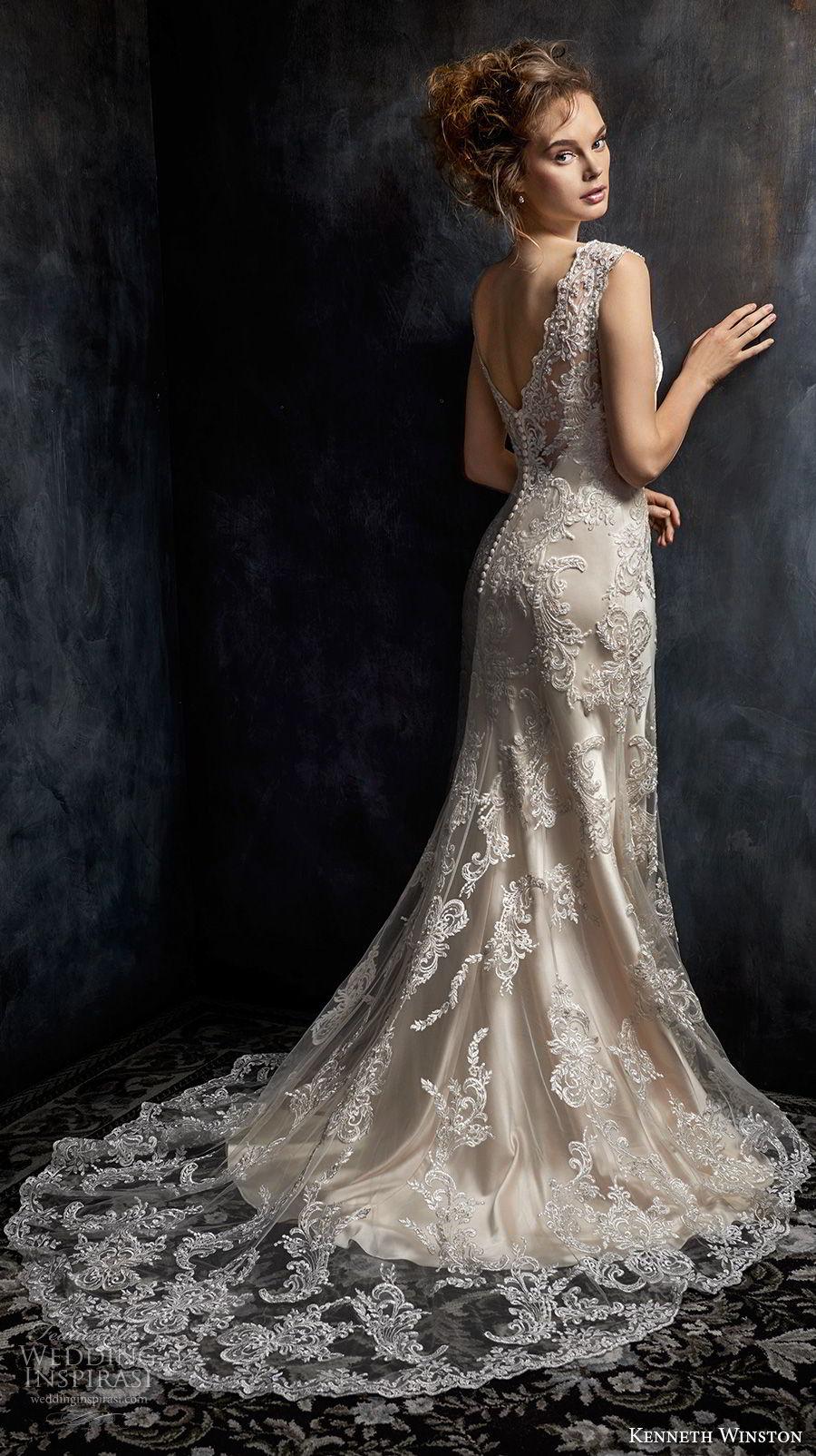 kenneth winston fall 2017 bridal sleeveless thick strap v neck full embellishment drop waist elegant a  line wedding dress open v back chapel train (43) bv