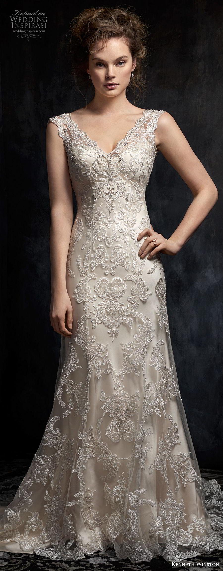 kenneth winston fall 2017 bridal sleeveless thick strap v neck full embellishment drop waist elegant a  line wedding dress open v back chapel train (43) mv