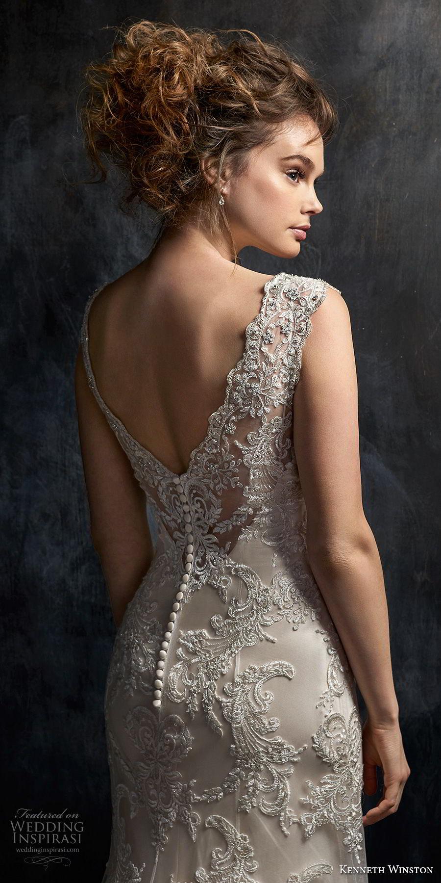 kenneth winston fall 2017 bridal sleeveless thick strap v neck full embellishment drop waist elegant a  line wedding dress open v back chapel train (43) zbv