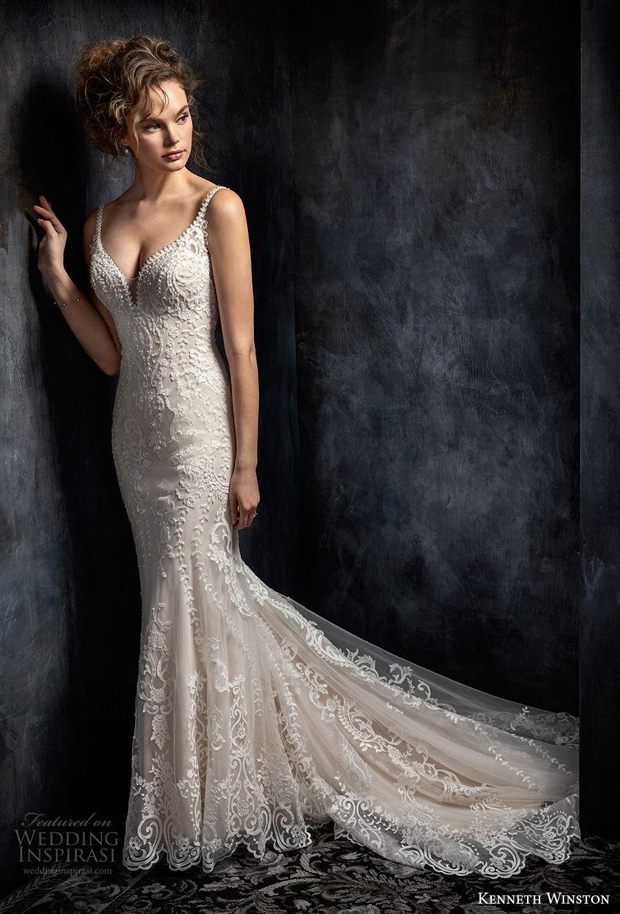 kenneth winston fall 2017 bridal sleeveless thin strap deep sweetheart neckline full embellishment elegant fit and flare mermaid wedding dress open back chapel train (34) mv