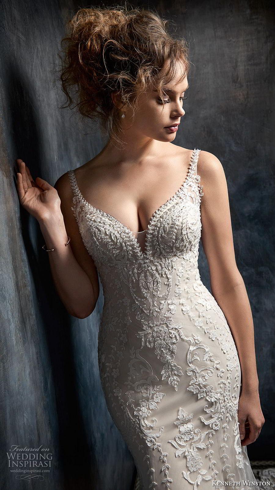 kenneth winston fall 2017 bridal sleeveless thin strap deep sweetheart neckline full embellishment elegant fit and flare mermaid wedding dress open back chapel train (34) zv