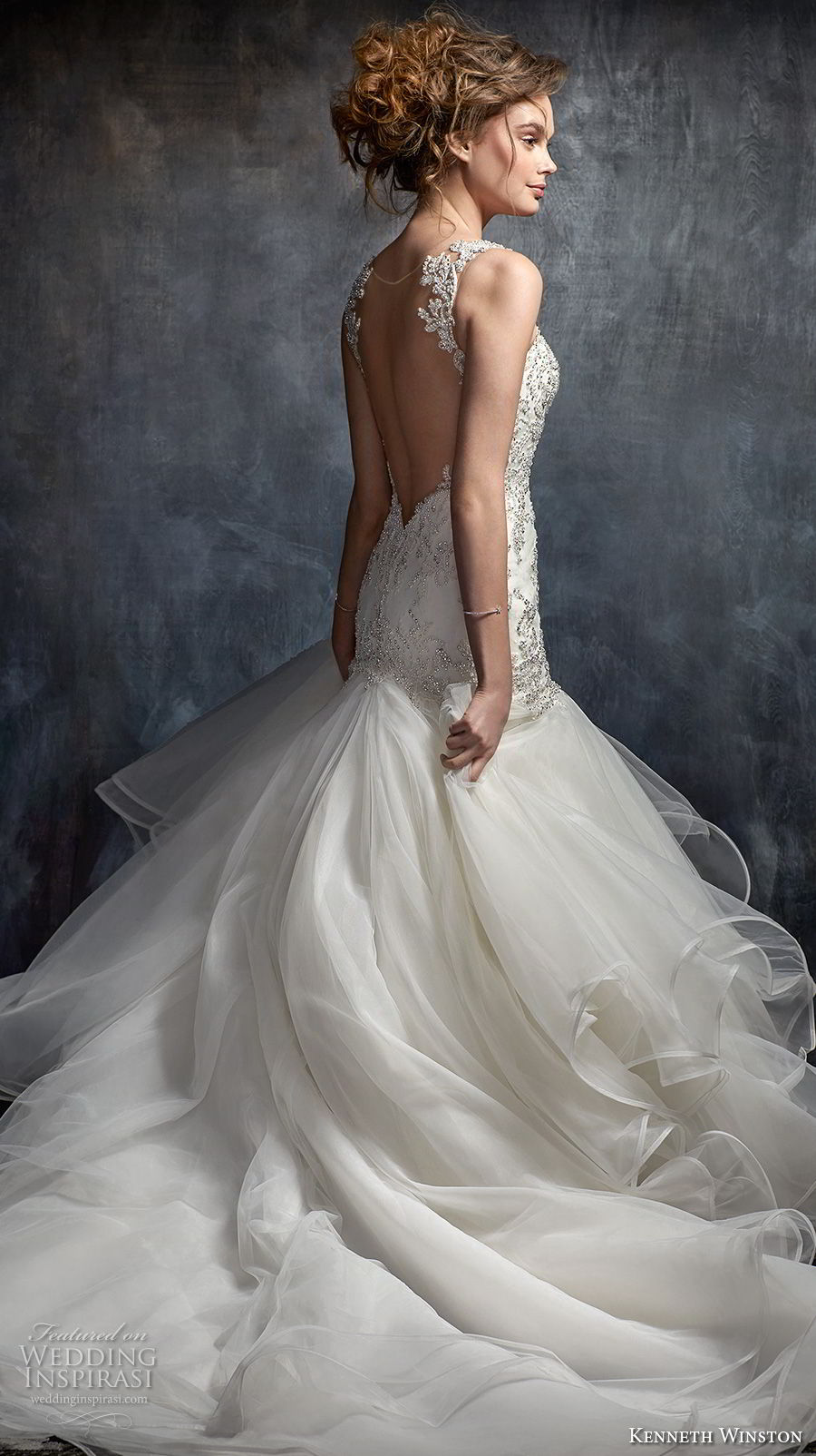 kenneth winston fall 2017 bridal sleeveless thin strap sweetheart neckline heavily embellished beaded bodice elegant mermaid wedding dress open sheer back chapel train (56) bv