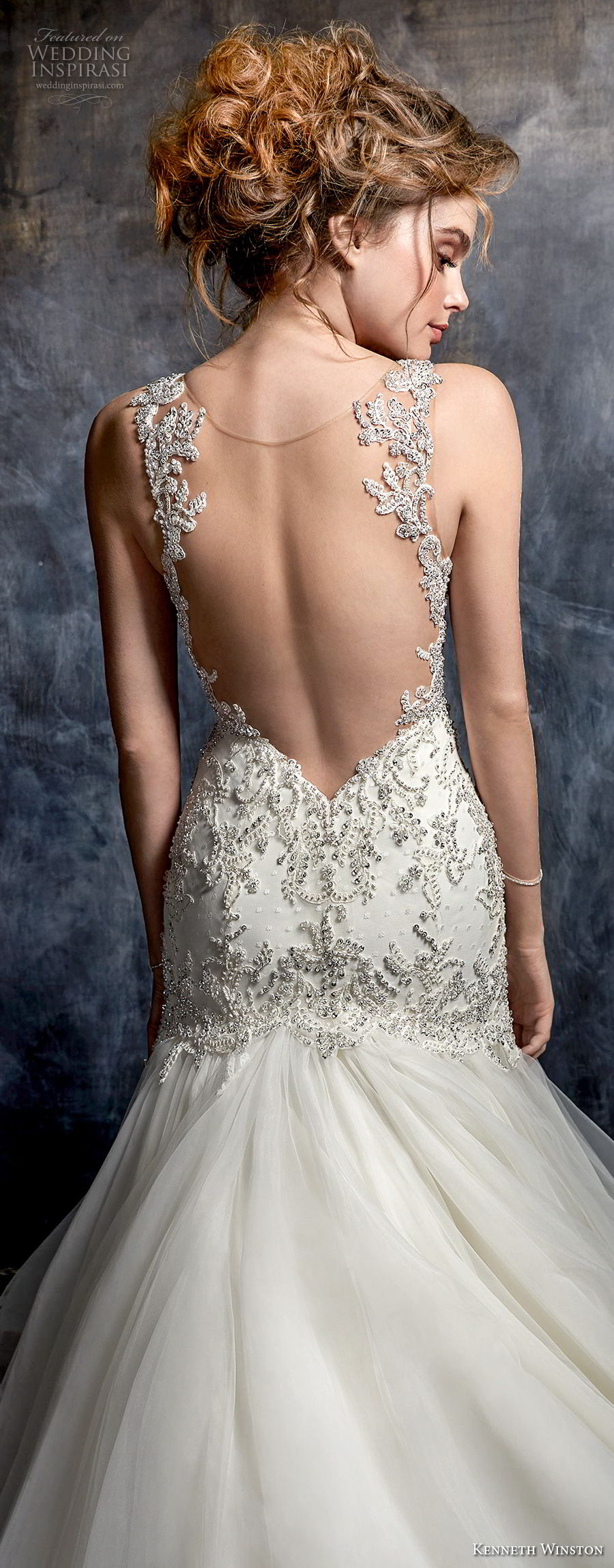 kenneth winston fall 2017 bridal sleeveless thin strap sweetheart neckline heavily embellished beaded bodice elegant mermaid wedding dress open sheer back chapel train (56) zbv