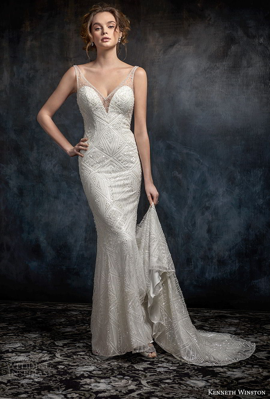 kenneth winston fall 2017 bridal sleeveless thin strap v neck full embellishment elegant sheath wedding dress open scoop back sweep train (48) mv