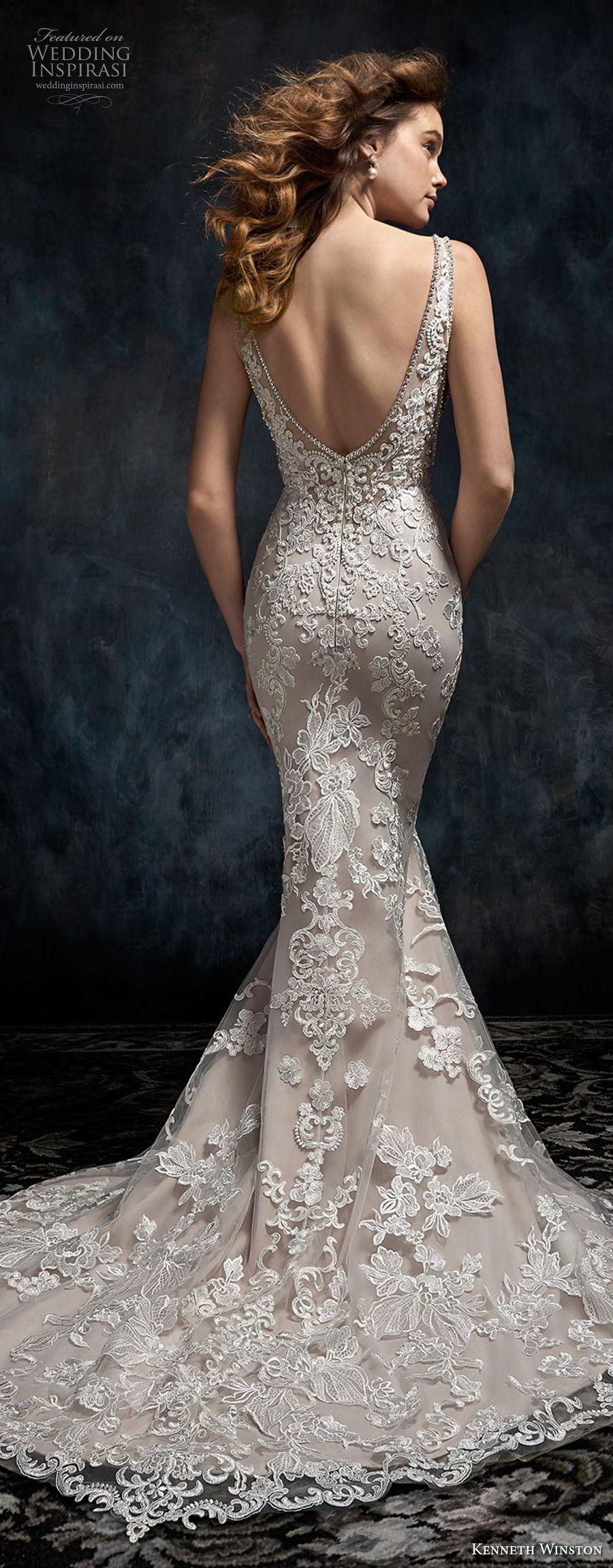 kenneth winston fall 2017 bridal sleeveless v neck full embellishment elegant fit and flare mermaid wedding dress open scoop back chapel train (39) bv