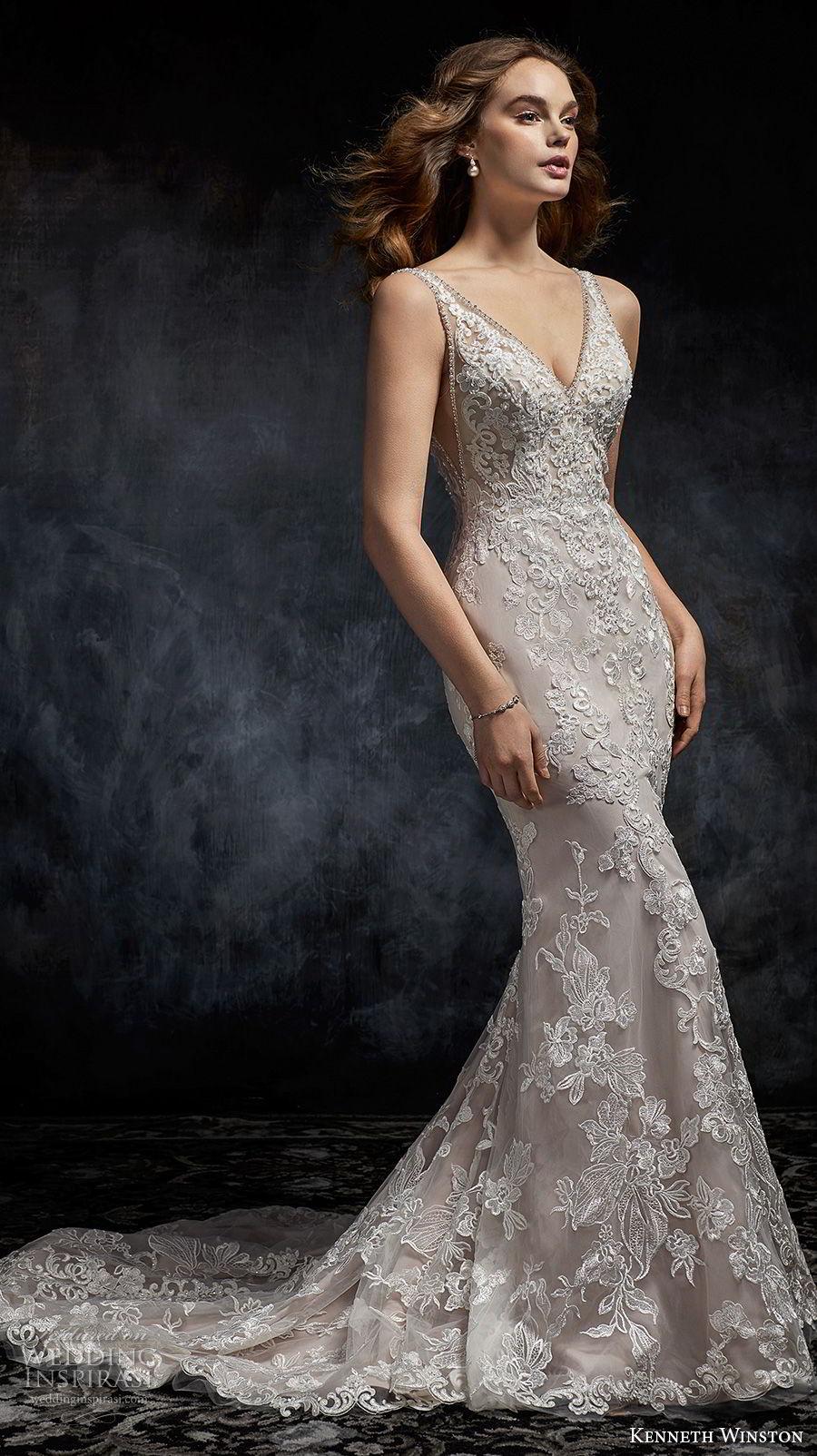 kenneth winston fall 2017 bridal sleeveless v neck full embellishment elegant fit and flare mermaid wedding dress open scoop back chapel train (39) mv