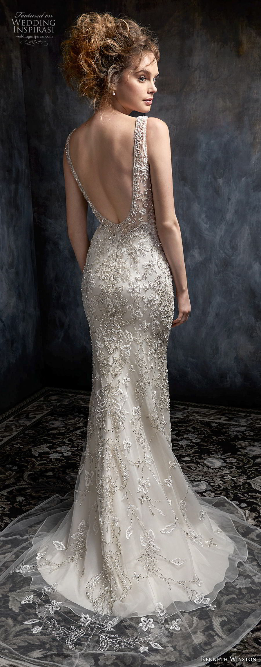 kenneth winston fall 2017 bridal sleeveless with strap sweetheart neckline full beaded embellishment elegant glamorous sheath wedding dress low open back sweep train (46) bv
