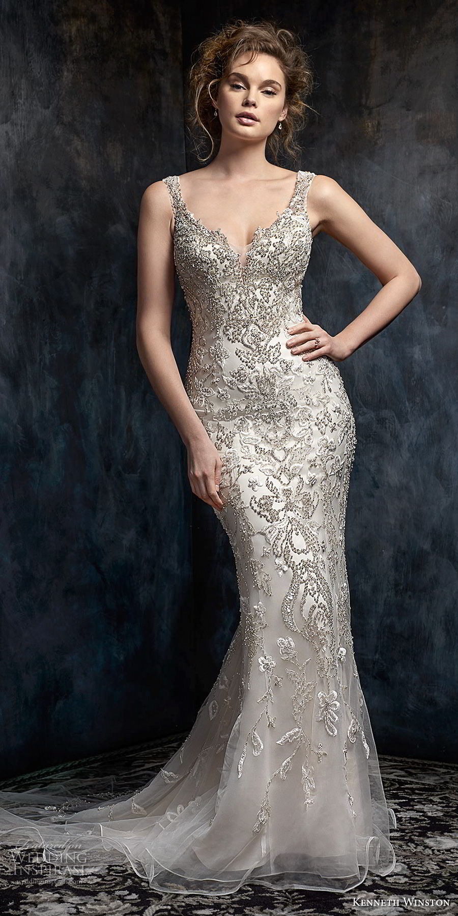 kenneth winston fall 2017 bridal sleeveless with strap sweetheart neckline full beaded embellishment elegant glamorous sheath wedding dress low open back sweep train (46) mv