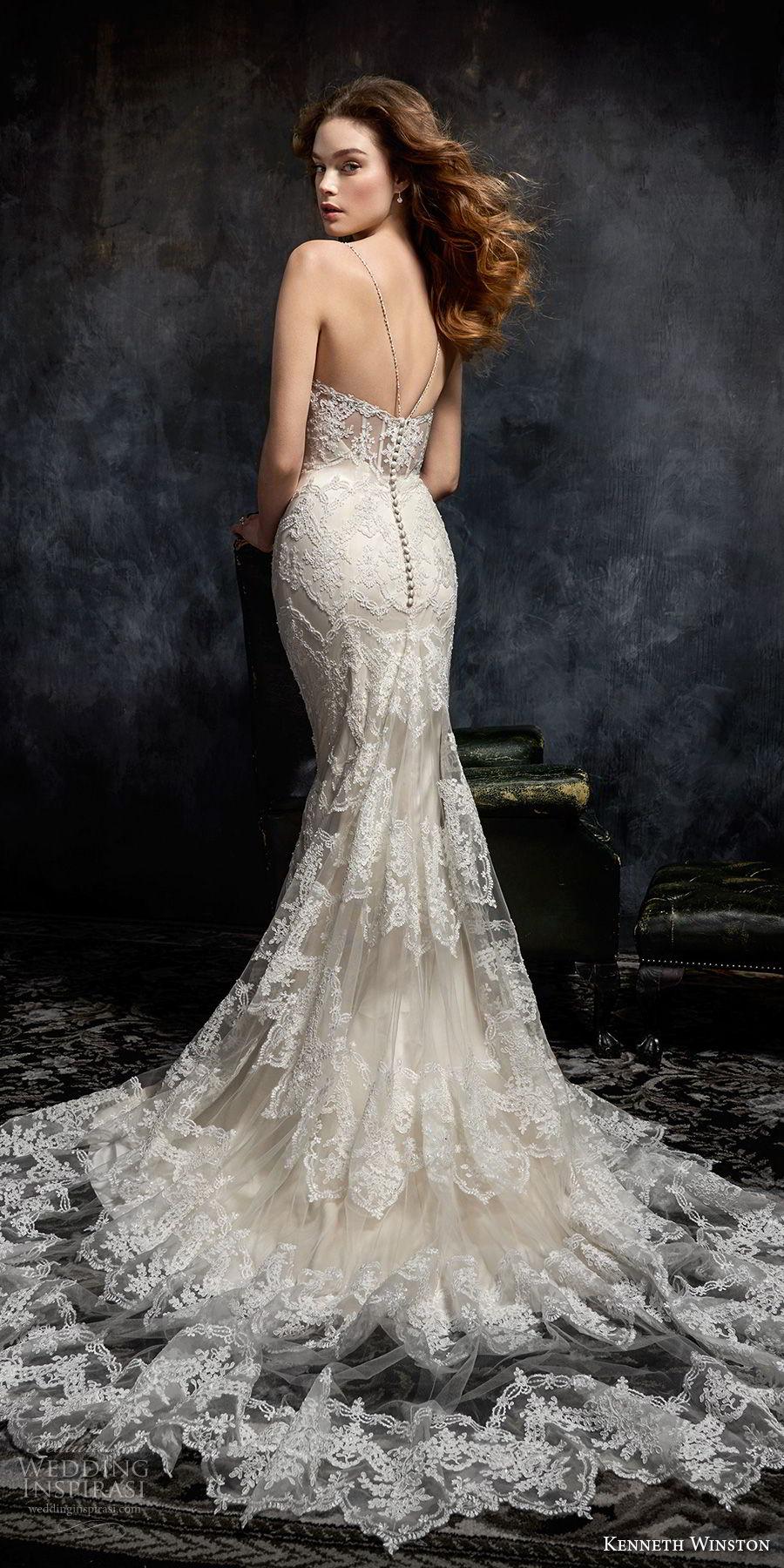 kenneth winston fall 2017 bridal spaghetti strap sweetheart neckline full embellishment elegant sheath fit and flare wedding dress chapel train (38) bv