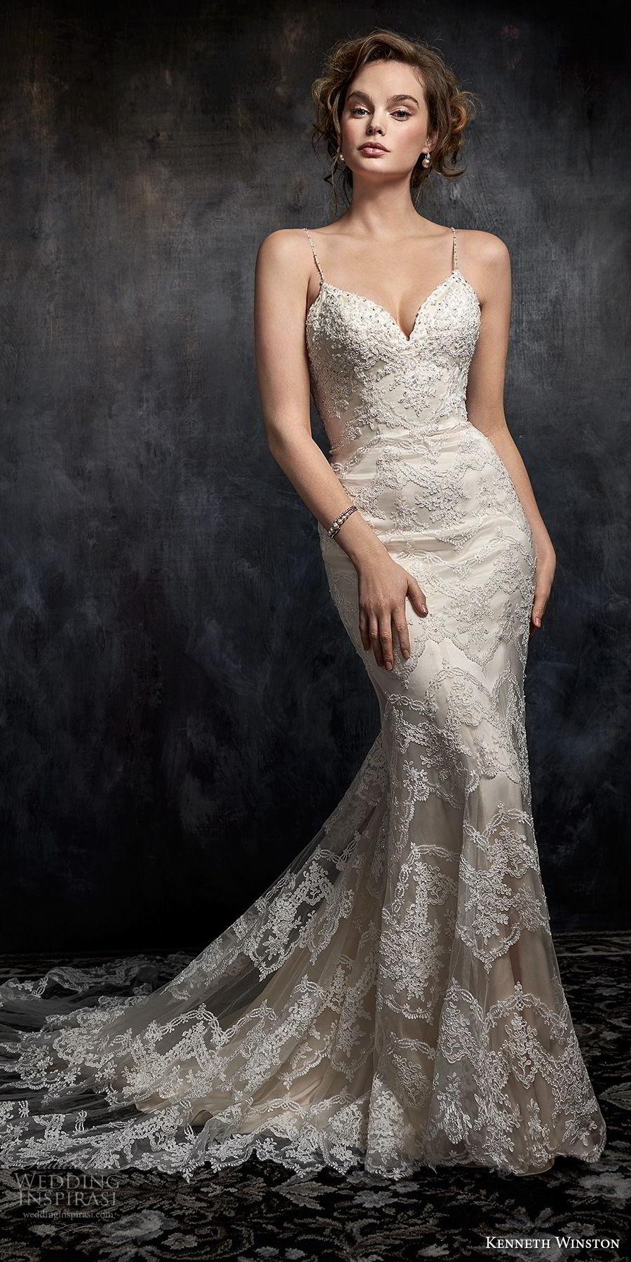 kenneth winston fall 2017 bridal spaghetti strap sweetheart neckline full embellishment elegant sheath fit and flare wedding dress chapel train (38) mv