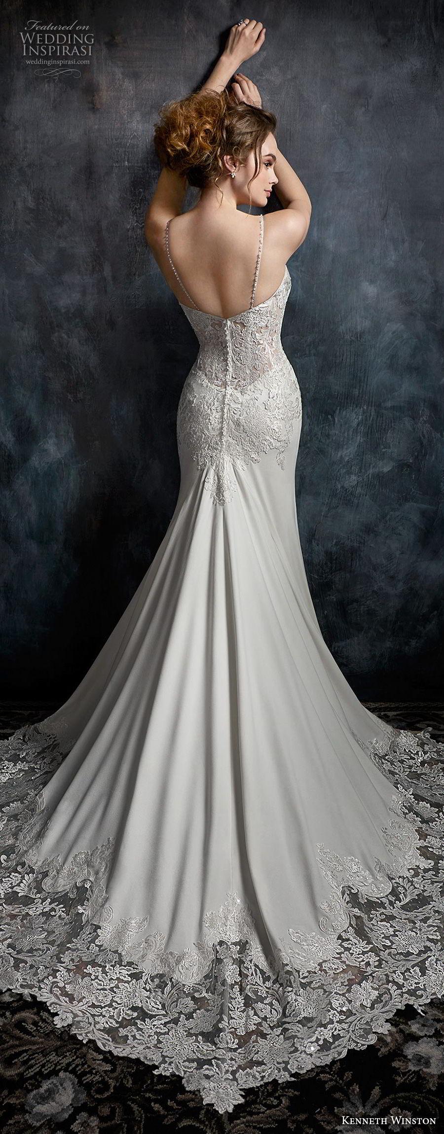 kenneth winston fall 2017 bridal spaghetti strap sweetheart neckline heavily embellished bodice elegant sheath wedding dress chapel train (29) bv