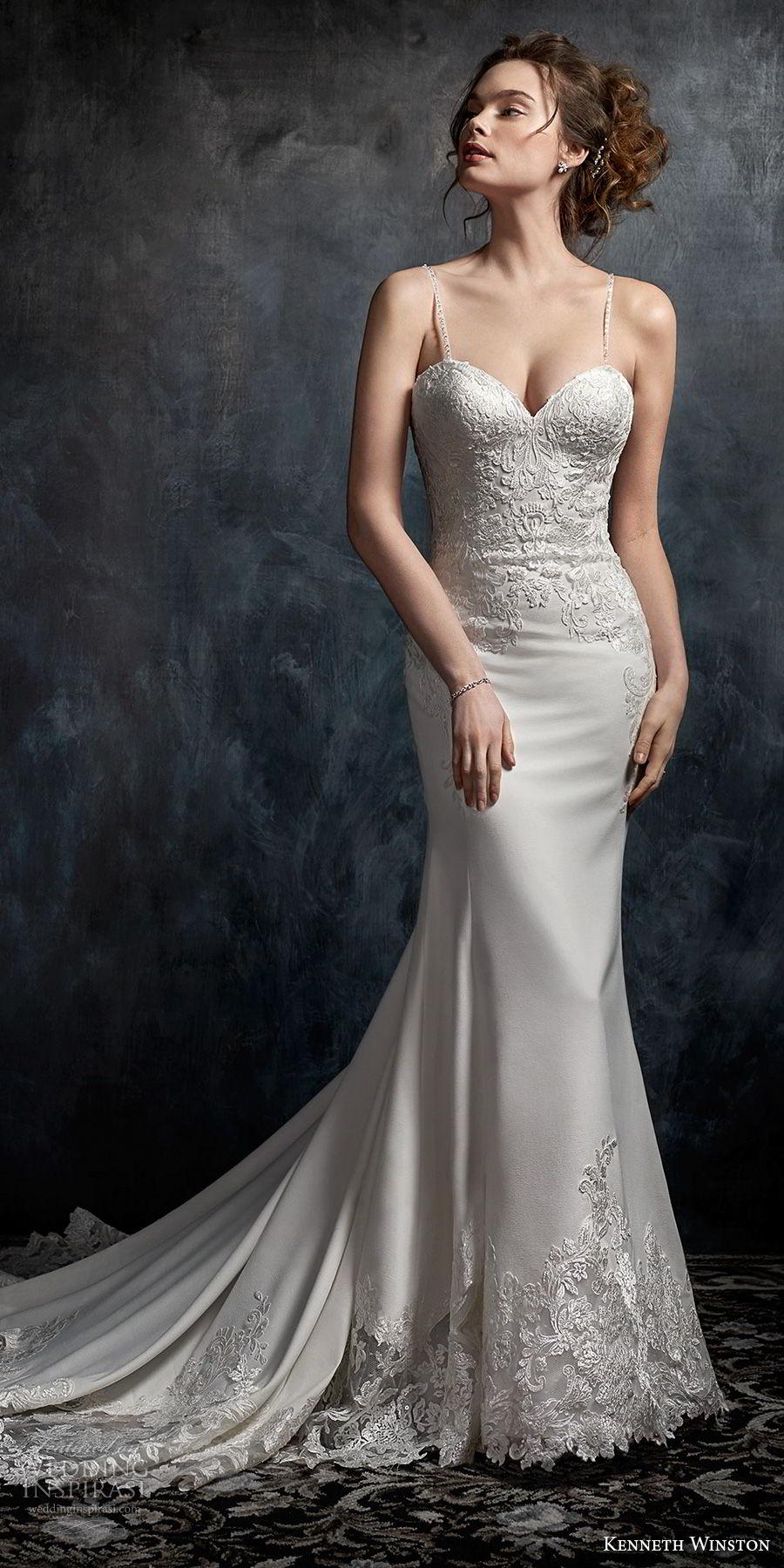 kenneth winston fall 2017 bridal spaghetti strap sweetheart neckline heavily embellished bodice elegant sheath wedding dress chapel train (29) fv