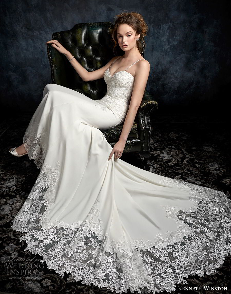 kenneth winston fall 2017 bridal spaghetti strap sweetheart neckline heavily embellished bodice elegant sheath wedding dress chapel train (29) mv