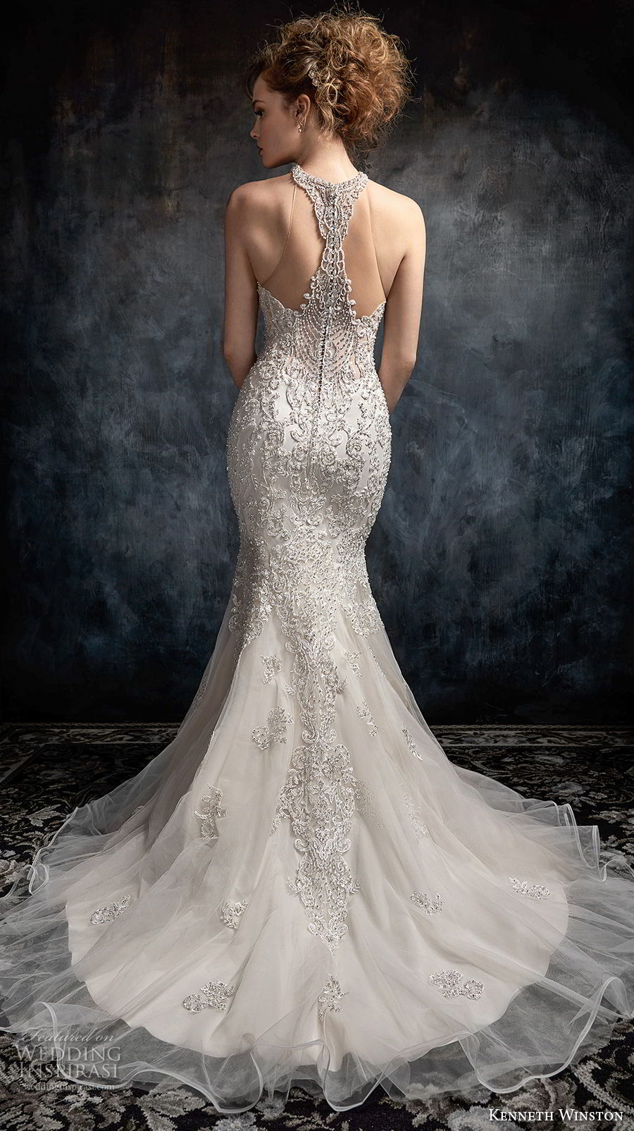 kenneth winston fall 2017 bridal strapless rasor sweetheart neckline heavily embellished beaded bodice elegant mermaid wedding dress rasor back chapel train (44) bv