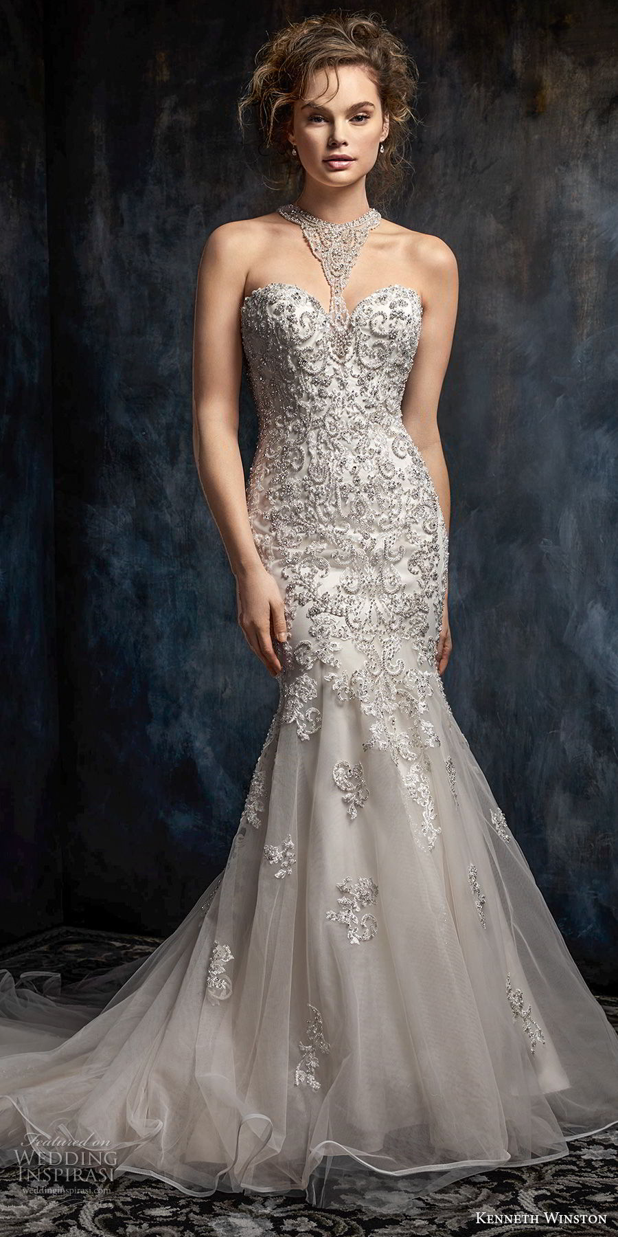 kenneth winston fall 2017 bridal strapless rasor sweetheart neckline heavily embellished beaded bodice elegant mermaid wedding dress rasor back chapel train (44) mv