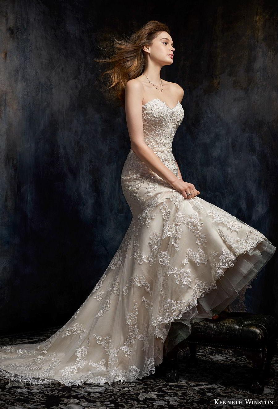 kenneth winston fall 2017 bridal strapless sweetheart neckline full embellishment drop waist elegant a  line wedding dress chapel train (40) mv