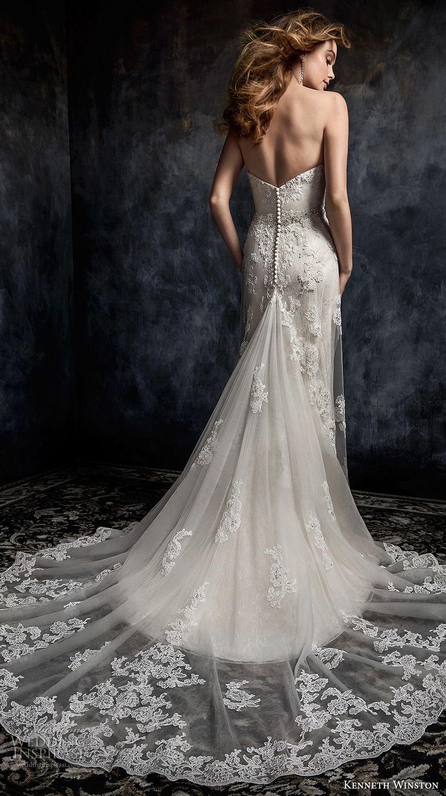 kenneth winston fall 2017 bridal strapless sweetheart neckline full embellishment elegant romantic column wedding dress chapel train (33) bv
