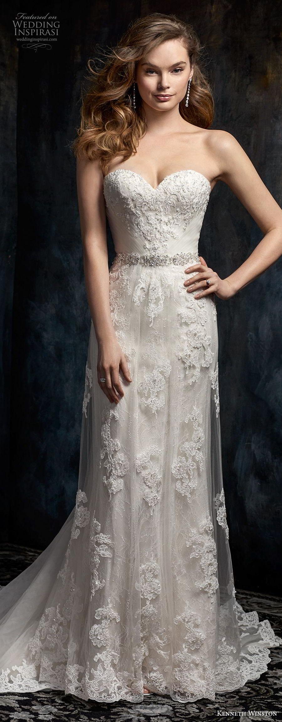 kenneth winston fall 2017 bridal strapless sweetheart neckline full embellishment elegant romantic column wedding dress chapel train (33) lv