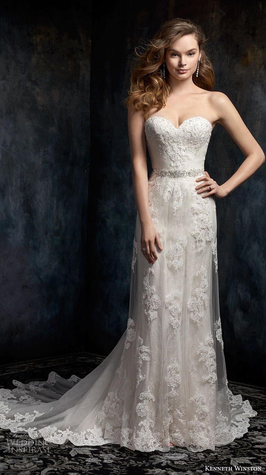 kenneth winston fall 2017 bridal strapless sweetheart neckline full embellishment elegant romantic column wedding dress chapel train (33) mv