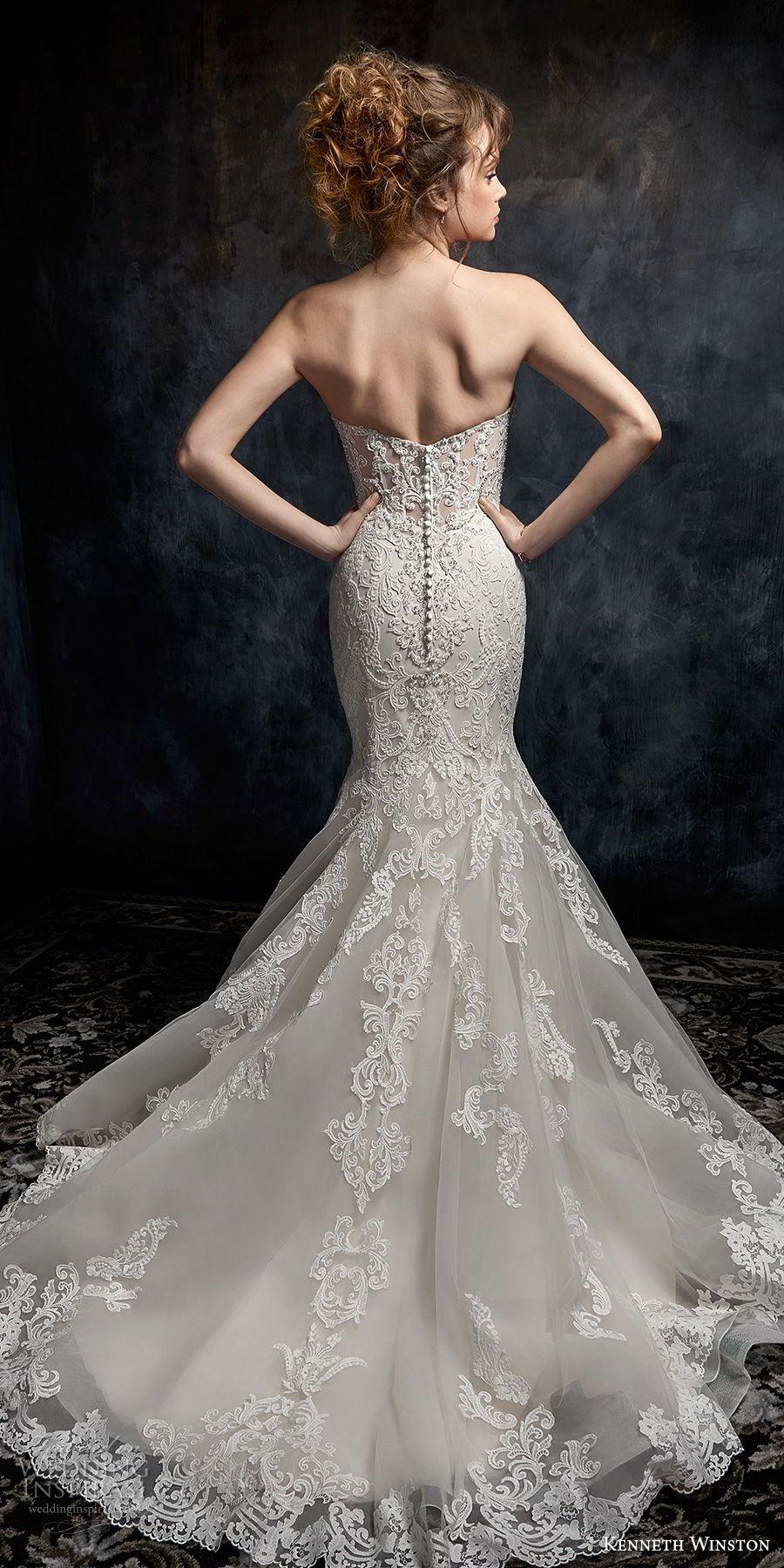 kenneth winston fall 2017 bridal strapless sweetheart neckline full embellishment elegant romantic mermaid wedding dress chapel train (42) bv